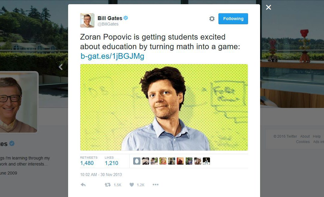 Bill Gates Tweets about Zoran Popovic's Work