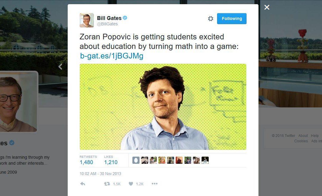 Bill Gates Tweets about Zoran Popovic's Work